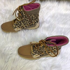 SPERRY TOP SIDER BOOTS LACE TAN LEOPARD SIZE 8.5